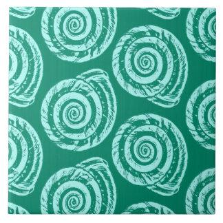 Spiral Seashell Block Print, Turquoise and Aqua Large Square Tile
