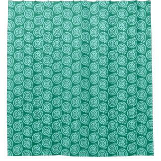 Spiral Seashell Block Print, Turquoise and Aqua Shower Curtain
