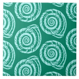Spiral Seashell Block Print, Turquoise and Aqua Tile