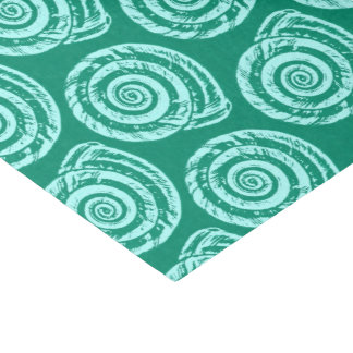 Spiral Seashell Block Print, Turquoise and Aqua Tissue Paper