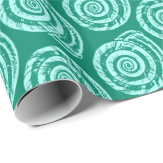 Spiral Seashell Block Print, Turquoise and Aqua Wrapping Paper