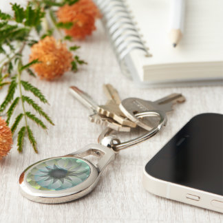 Spiral Shark PhotoUSA Keychain Silver-Colored Oval Key Ring