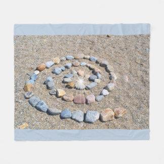 Spiral Stone Beach Art Fleece Blanket