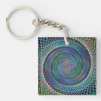 Spiral structure Single-Sided square acrylic key ring