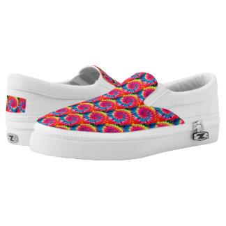Spiral Tie Dye Pattern, Zips, Slip On Shoes
