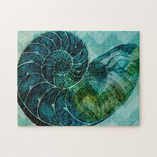 Spiral Turquoise Conch Shell Jigsaw Puzzle