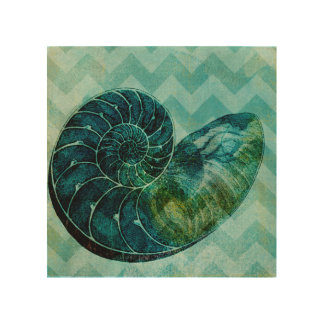 Spiral Turquoise Conch Shell Wood Wall Decor