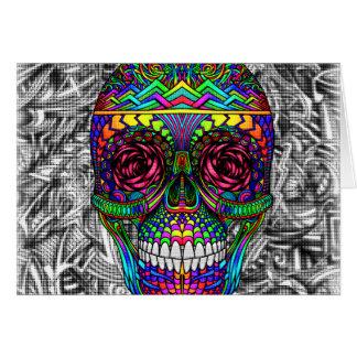 Spiral Zen Candy Skull Abstract Art Dead Head Card