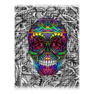 Spiral Zen Candy Skull Abstract Art Dead Head Postcard