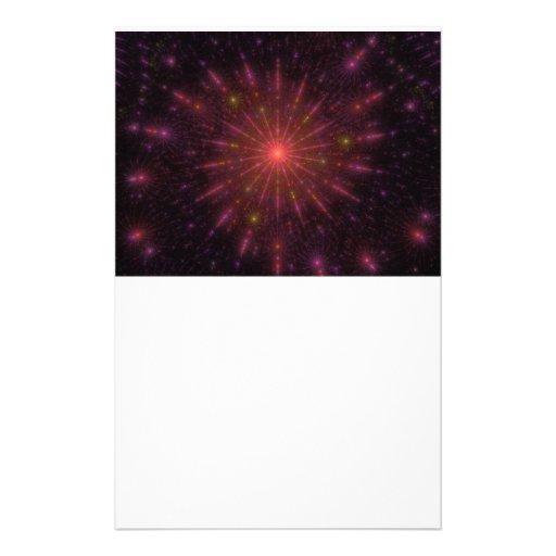 Spiraling Flames Fireworks Fractal Stationery