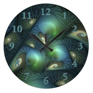 Spirals Beige Green Turquoise Fantasy Fractal Large Clock