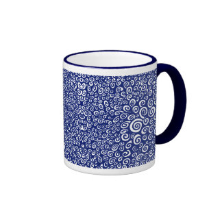 Spirals - Navy Blue on White Ringer Coffee Mug