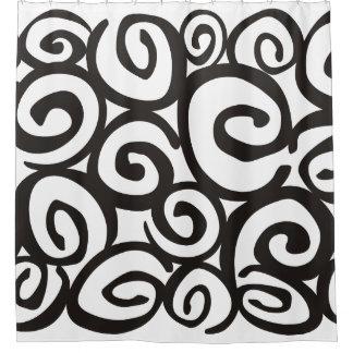 Spirals Pattern Black & White + your ideas Shower Curtain