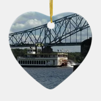 Spirit of Dubuque on Mississippi River Ceramic Heart Decoration