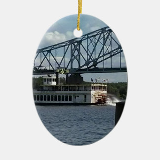 Spirit of Dubuque on Mississippi River Ceramic Oval Decoration
