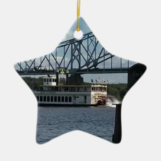 Spirit of Dubuque on Mississippi River Ceramic Star Decoration