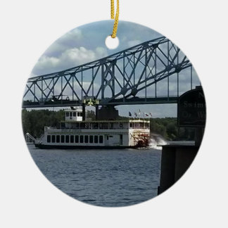 Spirit of Dubuque on Mississippi River Round Ceramic Decoration