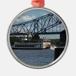 Spirit of Dubuque on Mississippi River Silver-Colored Round Decoration