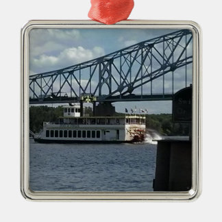 Spirit of Dubuque on Mississippi River Silver-Colored Square Decoration