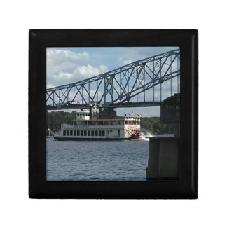 Spirit of Dubuque on Mississippi River Small Square Gift Box