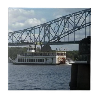 Spirit of Dubuque on Mississippi River Small Square Tile