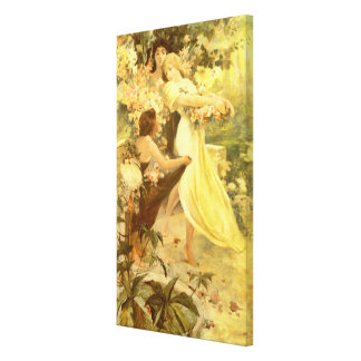 Spirit of Spring by Alphonse Mucha Stretched Canvas Print
