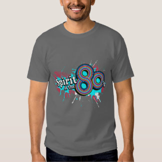 """""""Spirit of the 80's"""" mens multi-blues logo t grey Tshirt"""