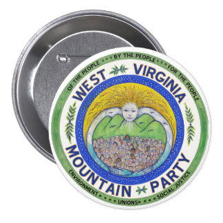 """""""Spirit of the Mountain Party"""", 3 in. button"""
