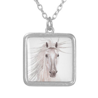 Spirit of the Wind Horse -vintage- Square Pendant Necklace