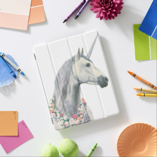 Spirit Unicorn with Flowers Around Neck iPad Cover