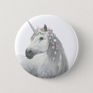 Spirit Unicorn with Flowers in Mane 6 Cm Round Badge