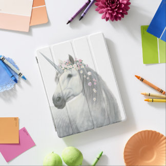 Spirit Unicorn with Flowers in Mane iPad Cover