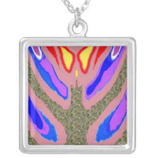Spirit Within -  Holistic Spiritual Candle n Flame Silver Plated Necklace