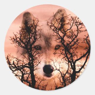 Spirit wolf classic round sticker