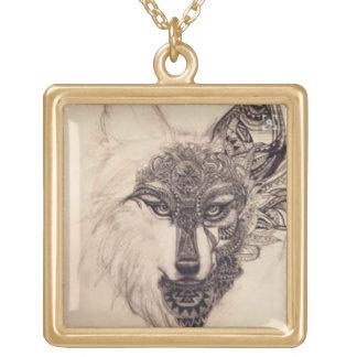spirit wolf gold finish necklace