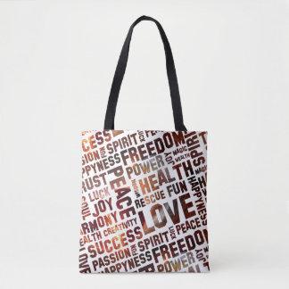 Spirit Words / Affirmations universe + your backg. Tote Bag