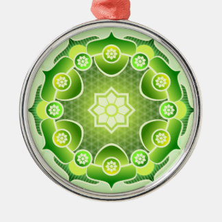 Spiritual Abstract Green Mandala Heart Chakra Metal Ornament