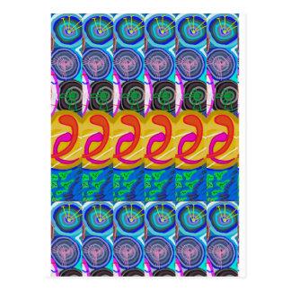 SPIRITUAL Hug Cosmic Discs Spiral Circles Deco Postcard