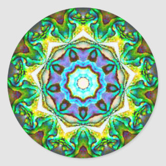 Spiritual Iridescent Paua Shell Fractal Classic Round Sticker