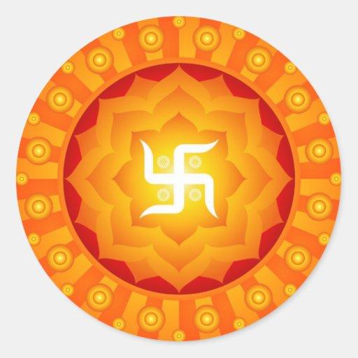 Spiritual Lotus Swastika Design Round Sticker