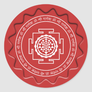 Spiritual Shree Yantra on Red Wax Seal Round Sticker