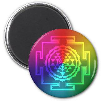 Spiritual Sri Yantra - Rainbow 6 Cm Round Magnet