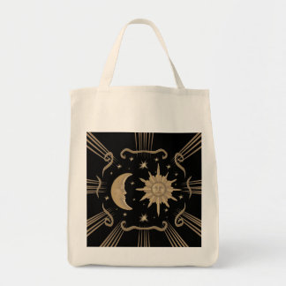 Spiritual, sun and moon tot bag design.