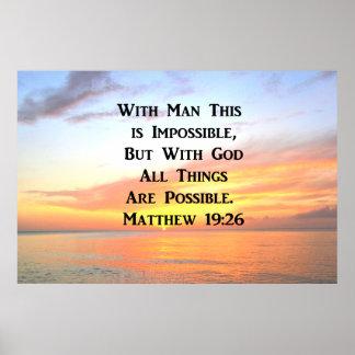 SPIRITUAL SUNRISE MATTHEW 19:26 PHOTO POSTER