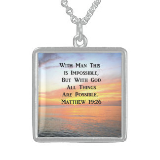 SPIRITUAL SUNRISE MATTHEW 19:26 PHOTO STERLING SILVER NECKLACE