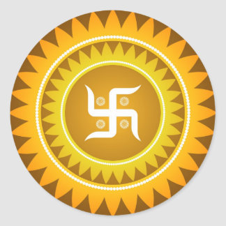 Spiritual Swastika Design Round Stickers