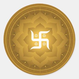 Spiritual Swastika On Lotus Round Sticker