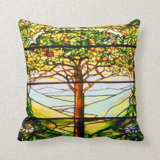 Spiritual Tiffany Window Scenic Tree Landscape Cushion