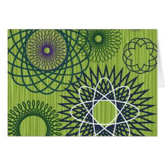 Spirograph Geometric Pattern Blue Green Card