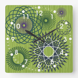 Spirograph Geometric Pattern Blue Green Clock